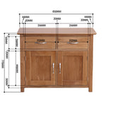New Oak Small 2 Drawer 2 Door Sideboard