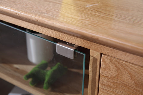 New Oak Large Tv Unit With Glass Doors Direct Furniture Land