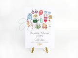 Favorite Things 2019 Illustrated Monthly Desk Calendar