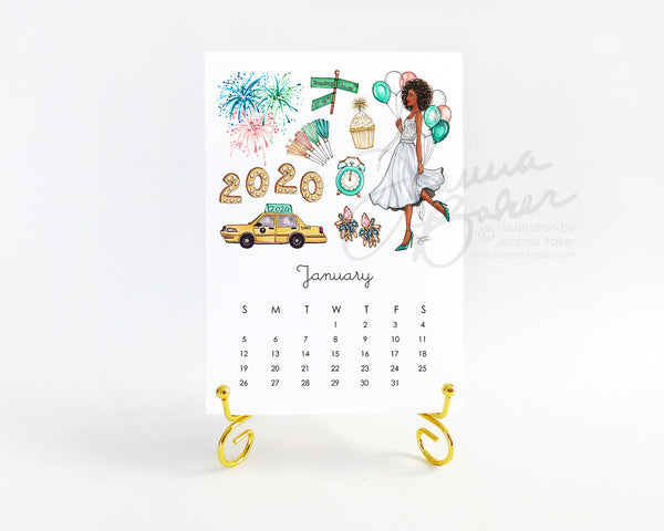 Favorite Things 2020 Illustrated Monthly Desk Calendar