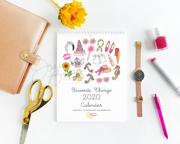 Favorite Things 2020 Illustrated Monthly Wall Calendar