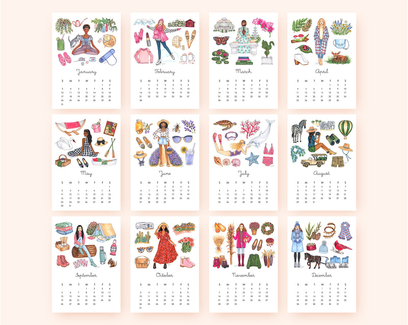 Favorite Things 2021 Illustrated Monthly Desk Calendar