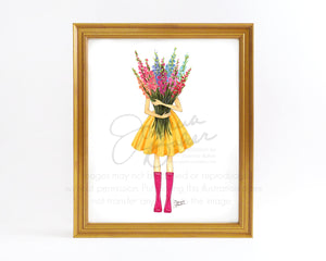Bountiful Blooms Fashion Illustration Art Print