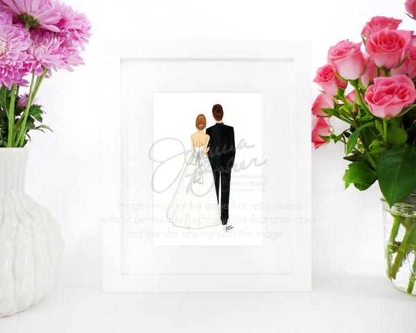 Bride & Groom Wedding Fashion Illustration Art Print