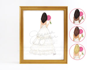 Pink Peonies Bride Fashion Illustration Art Print