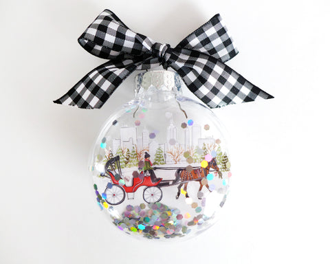 Central Park Carriage NYC Glitter Ornament