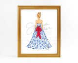 Chinoiserie Gown Holiday Fashion Illustration Art Print