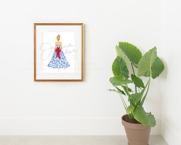 Chinoiserie Gown Fashion Illustration Art Print