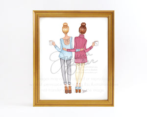 Coffee & Top Knots Fashion Illustration Art Print