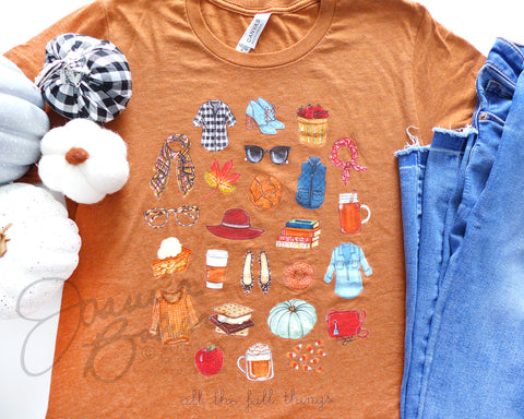 Fall Favorite Things Illustrated T-Shirt