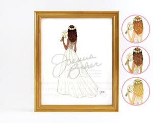Flower Crown Bride Wedding Fashion Illustration Art Print