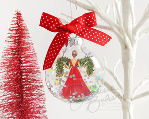 Garland Gown Fashion Illustration Glitter Christmas Ornament