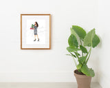 Gingham Merry Gifter Fashion Illustration Art Print
