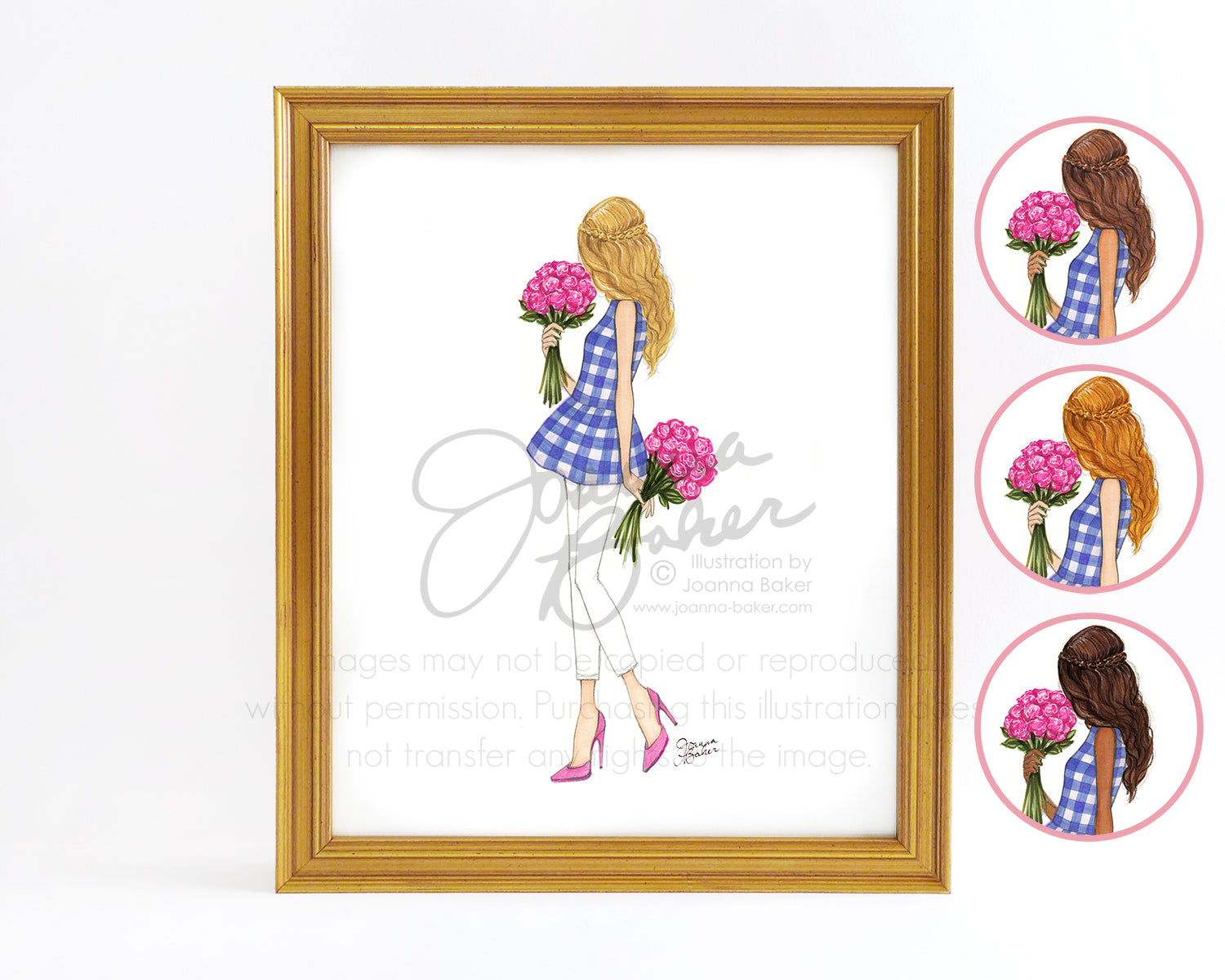 Peplums & Peonies Fashion Illustration Art Print