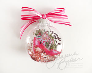 Holiday Shoe Fashion Illustration Glitter Christmas Ornament
