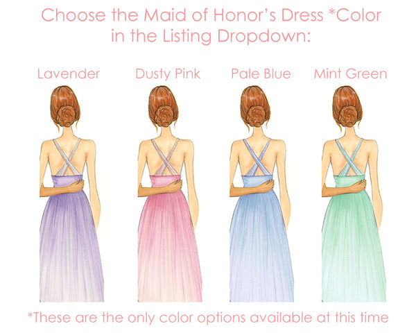 Maid of Honor / Bridesmaid Wedding Fashion Illustration Art Print