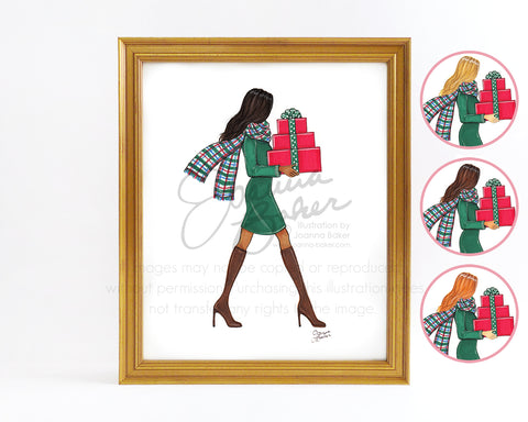 Plaid Scarf Merry Gifter Fashion Illustration Art Print - Semi-Custom