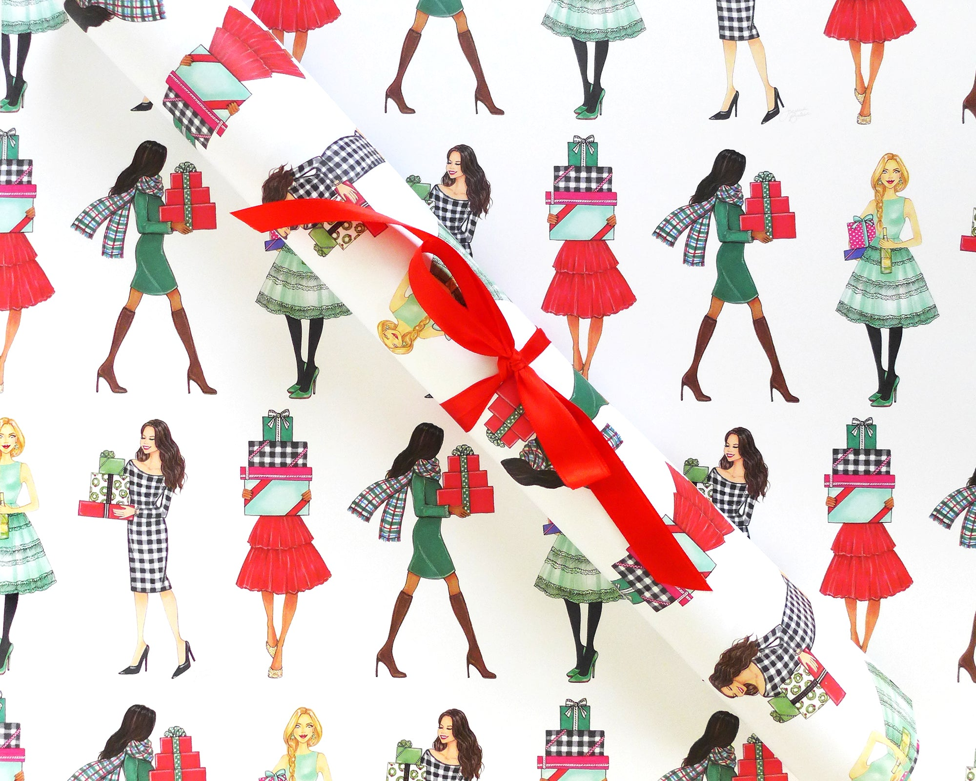 Merry Gifters Fashion Illustration Holiday Gift Wrap Sheets
