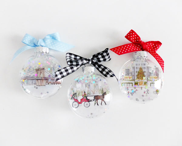 New York City Glitter Ornament Christmas Gift Set
