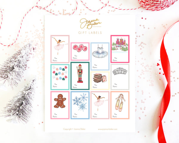 Nutcracker Ballet Holiday Gift Label Stickers