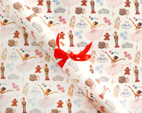Nutcracker Ballet Holiday Gift Wrap Sheets