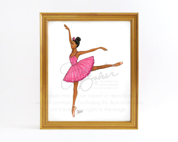 Pink Ballerina Fashion Illustration Art Print