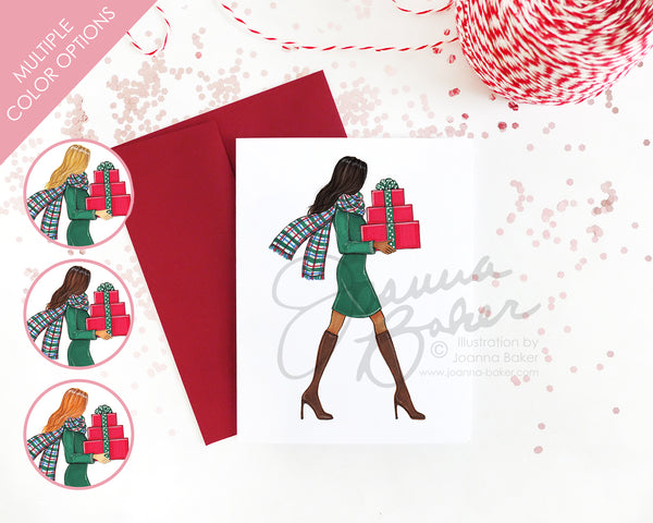Plaid Scarf Merry Gifter Fashion Holiday Card