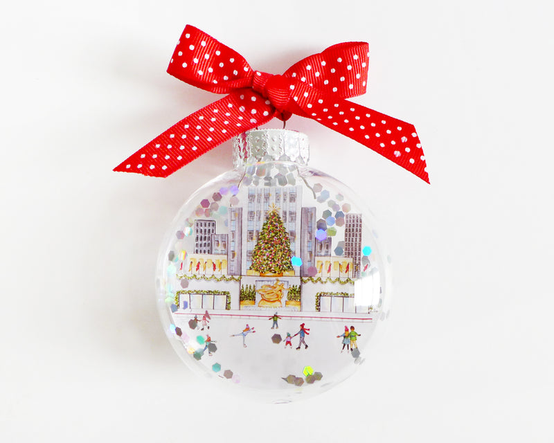 Rockefeller Center NYC Glitter Christmas Ornament