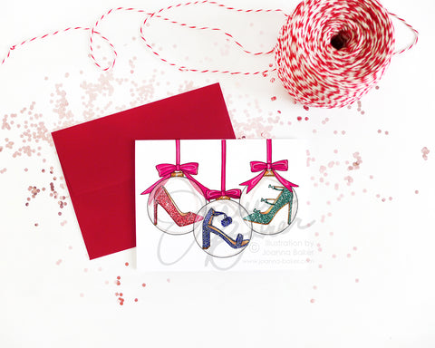 Shoe Ornament Fashion Holiday Greeting Card