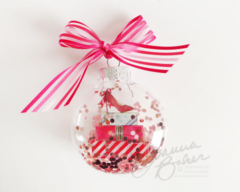 The Gift of Shoes Fashion Illustration Glitter Christmas Ornament