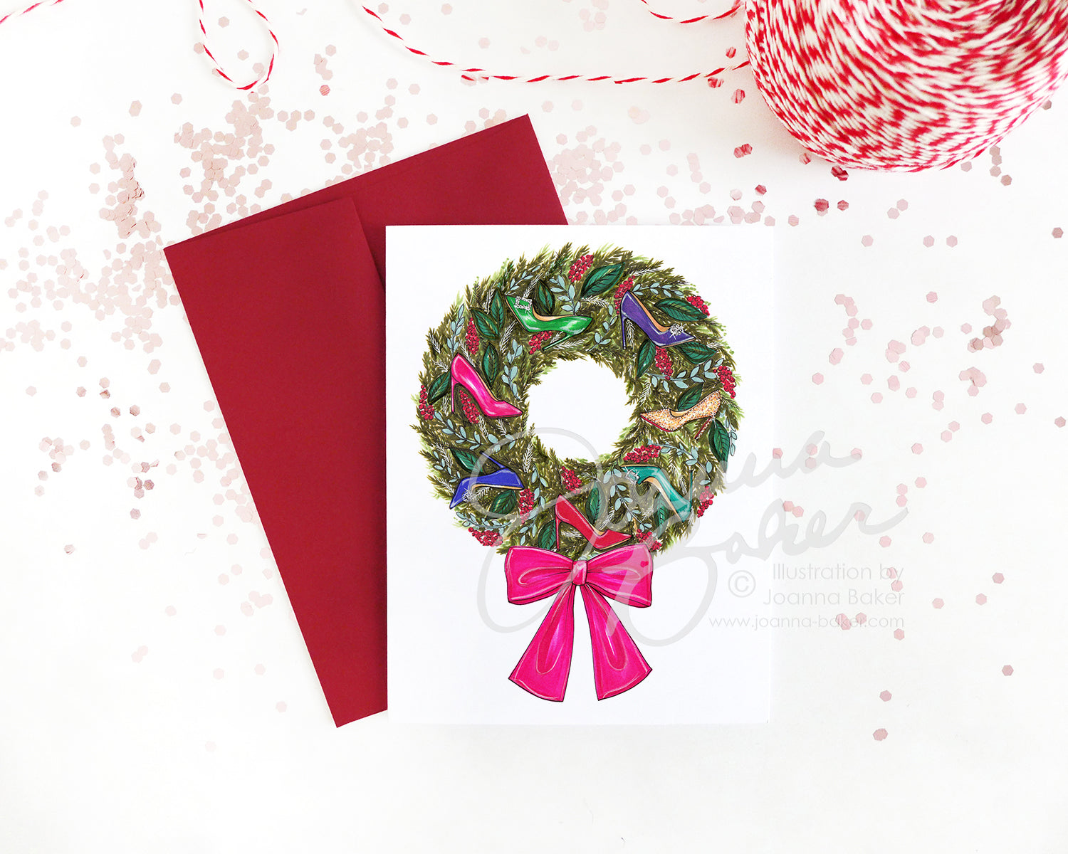 Shoe Wreath Fashion Holiday Greeting Card