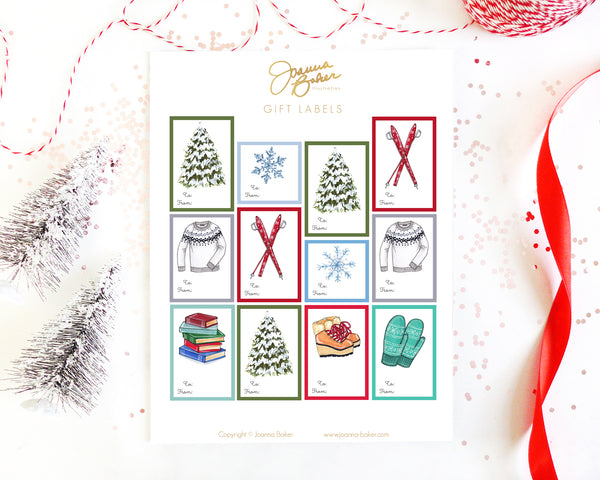 Winter Ski Chalet Gift Label Stickers
