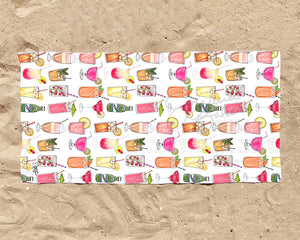 Summer Drinks Illustration Beach Towel