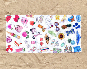 Summer Favorite Things Fashion Illustration Beach Towel