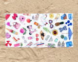 Summer Favorites Fashion Illustration Beach Towel