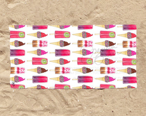 Summer Sweets Fashion Illustration Beach Towel