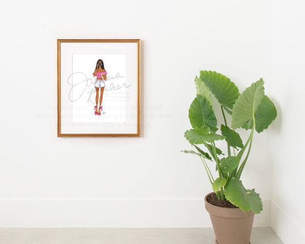 Summertime Paparazzi Fashion Illustration Art Print