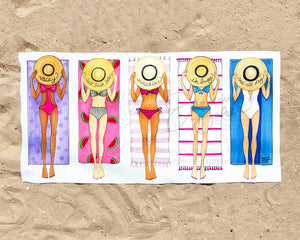 Sun Bathing Besties Fashion Illustration Beach Towel