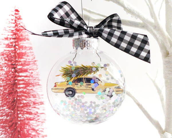 Taxi Cab Christmas Tree NYC Glitter Christmas Ornament