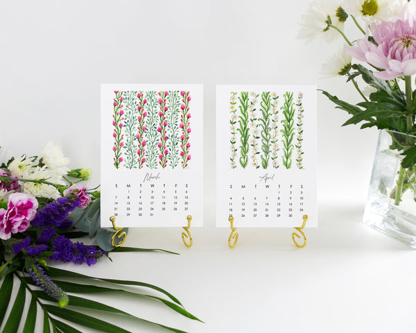 Watercolor Vines 2021 Illustrated Monthly Desk Calendar