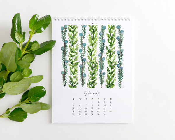 Watercolor Vines 2021 Illustrated Monthly Wall Calendar