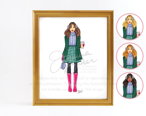 Winter Gingham Fashion Illustration Art Print - Semi-Custom