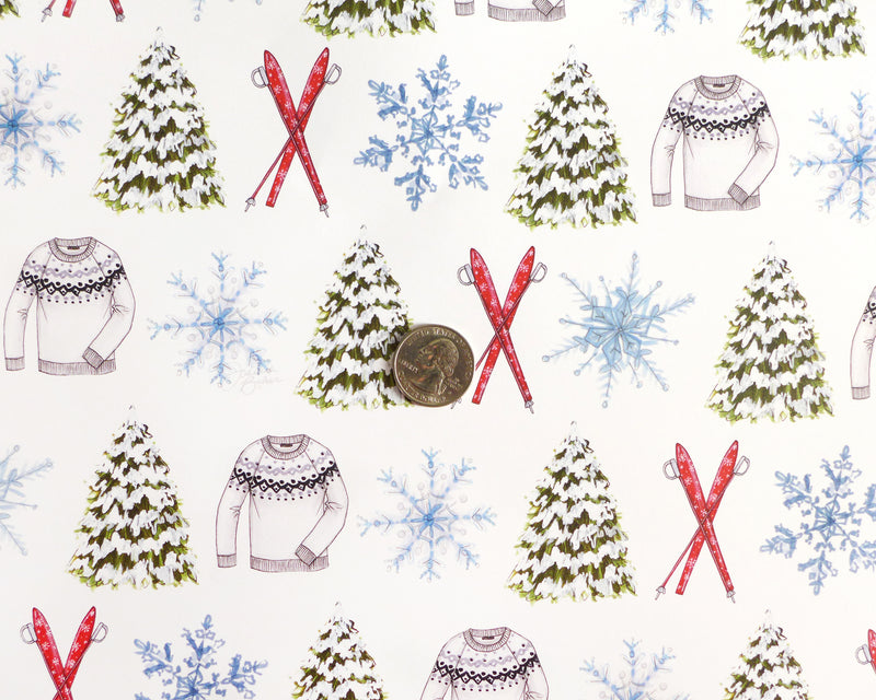 Winter Ski Chalet Fashion Holiday Gift Wrap Sheets