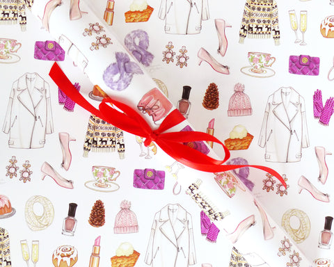 Winter Fashion Holiday Gift Wrap Sheets