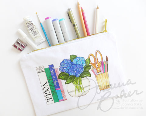 Art Supplies Illustration Canvas Zippered Pouch
