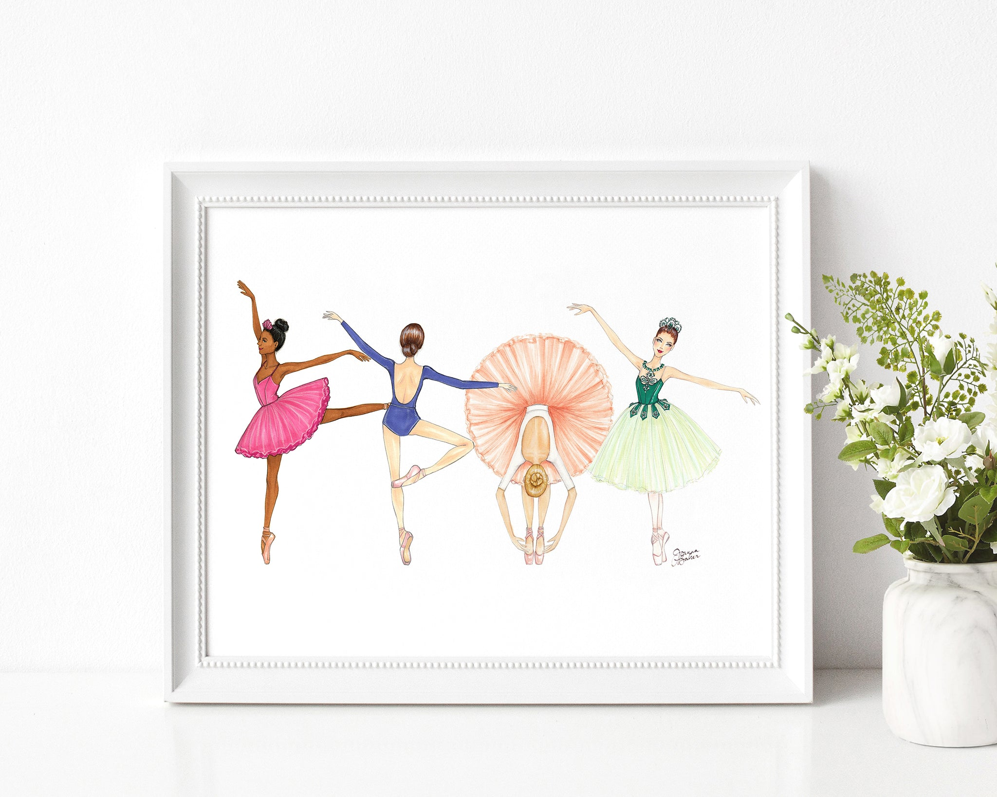 Ballerina Besties Fashion Illustration Art Print