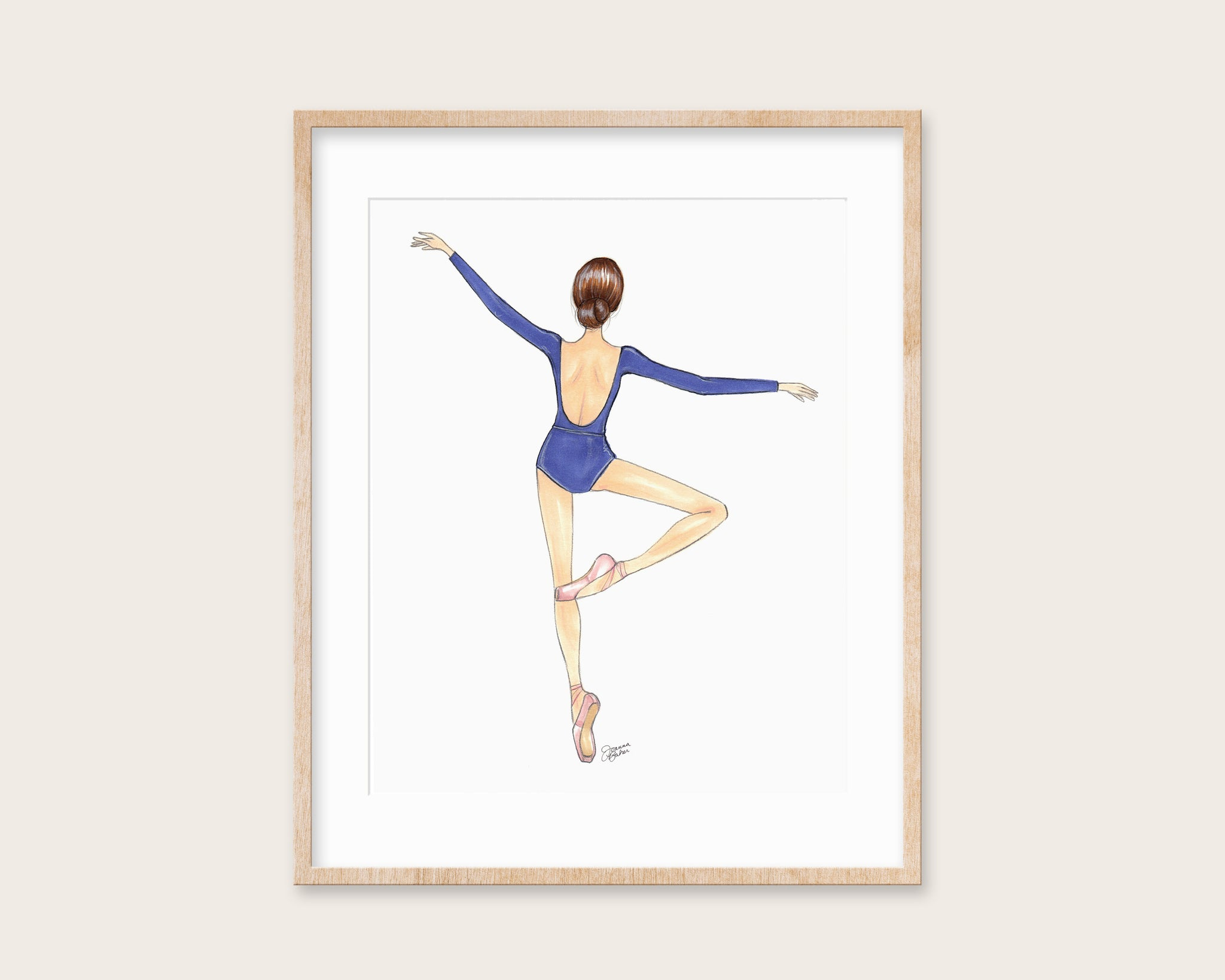 Blue Ballerina Fashion Illustration Art Print