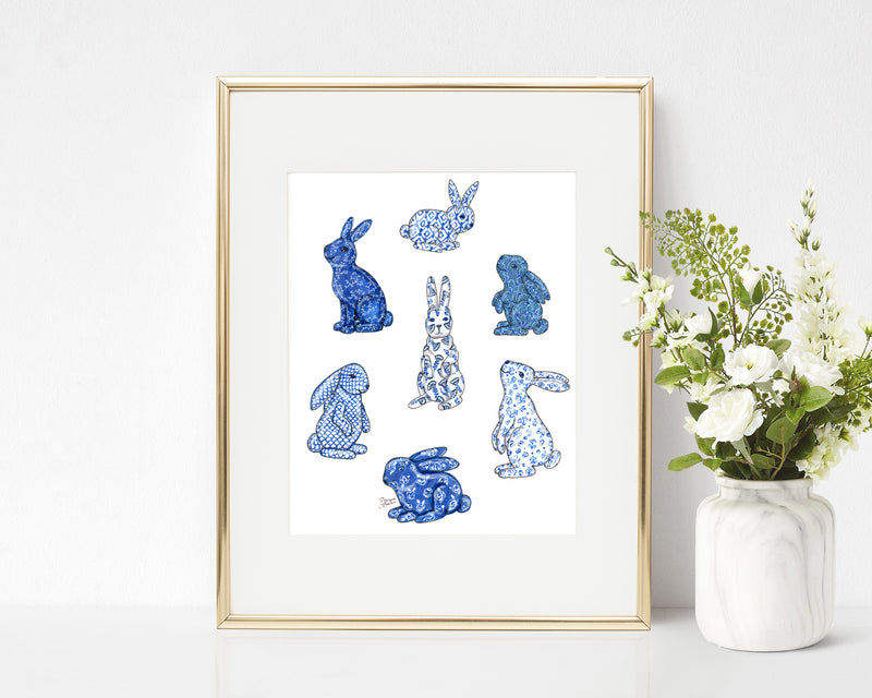 Blue Chinoiserie Bunny Art Print