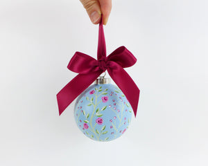 Blue Climbing Roses Heirloom Ornament
