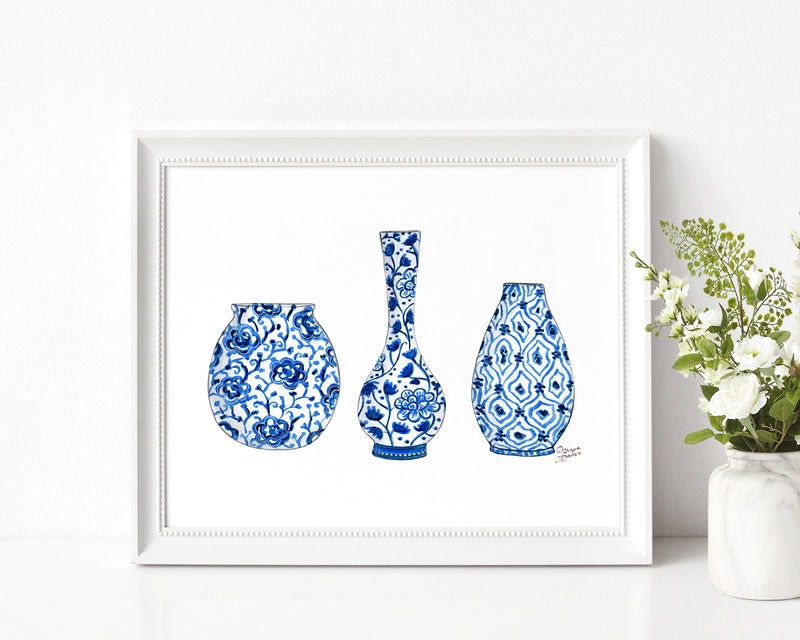 Blue Vases Illustration Art Print